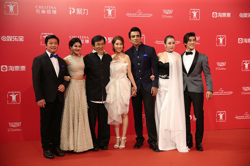 "Jackie Chan, Sonu Sood and Amyra Dastur in ""Kungfu Yoga"""